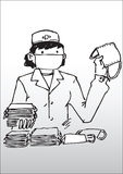 Nurse with face mask. Cartoon illustration of nurse with face mask and pile surgical masks in foreground; gradient white background Stock Images
