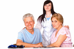 Nurse and family smiling Royalty Free Stock Photography