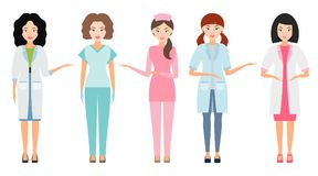 Nurse or female doctor, Medical workers isolated on a white back Royalty Free Stock Photo