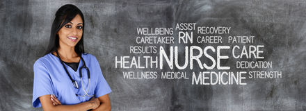 Nurse. Female nurse ready to give medical attention royalty free stock images