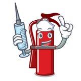 Nurse fire extinguisher character cartoon. Vector illustration Royalty Free Stock Photography