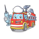 Nurse fire truck character cartoon. Vector illustration Royalty Free Stock Photography