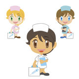Nurse with a first aid kit. A cartoon doctor with a first aid kit, three colors Stock Photography