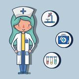 Nurse with first aid kit. Vector illustration Stock Image