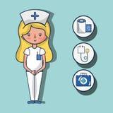 Nurse with fist aid kit icons. Vector illustration Stock Photos