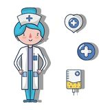 Nurse with fist aid kit icons. Vector illustration Royalty Free Stock Photo