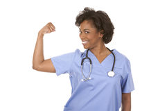 Nurse flexing muscles Royalty Free Stock Images