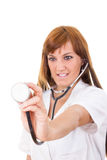 Nurse with focus on stethoscope Stock Photography