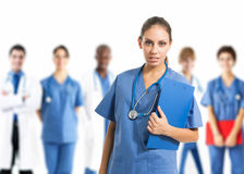 Nurse in front of her team Stock Image