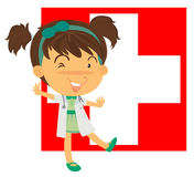 A nurse in front of the Switzerland flag Stock Image