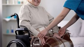 Nurse gently covering with blanket woman in wheelchair, care about old people. Nurse gently covering with blanket women in wheelchair, care about old people stock images