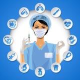 Nurse Girl In A Round Frame With Medical Care Icon Set Stock Photos