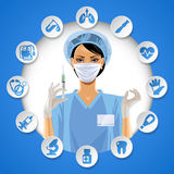 Nurse girl in a round frame with medical care icon set Stock Photos