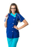 nurse with glasses holding stethoscope Royalty Free Stock Photography