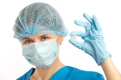 Nurse in gloves Royalty Free Stock Image