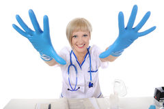 Nurse gloves stretching his arms Stock Image