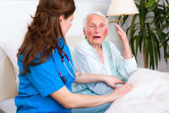 Nurse with great patience Stock Images
