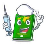 Nurse green passport in the cartoon shape. Vector illustration stock illustration