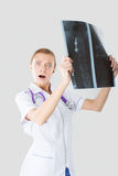 Nurse has been studying the X-ray Royalty Free Stock Photography