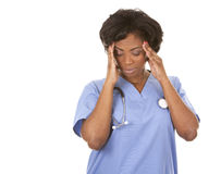 Nurse having a headache Royalty Free Stock Photos