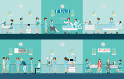 Nurse health care decorative icons set with patients  Royalty Free Stock Photos
