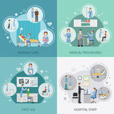 Nurse Health Care 2x2 Design Concept. Set of hospital staff providing first aid and performing medical procedures flat vector illustration Royalty Free Stock Photography