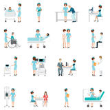 Nurse healthcare decorative icons set with patients. Royalty Free Stock Photography