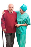 Nurse helping disabled old man Stock Photos