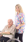 Nurse helping elderly patient. Shot of a nurse helping elderly patient Royalty Free Stock Images