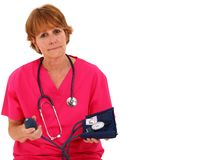 Nurse Holding Blood Pressure Monitor Stock Photos
