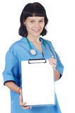 Nurse holding clipboard Stock Images
