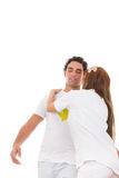 Nurse holding fainting man stock photo