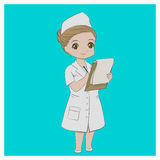 Nurse Holding a Pen and a Clipboard Vector Stock Image