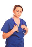 Nurse holding a stethoscope Royalty Free Stock Photo