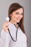 Nurse Holding Stethoscope Royalty Free Stock Image