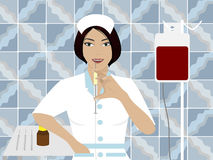 Nurse. Holding a syringe in the background tiled walls Royalty Free Stock Photos
