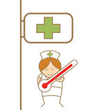 Nurse holding thermometer in front of hospital vector illustration