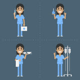 Nurse holds medical supplies in various poses Stock Photography