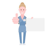 Nurse holds a presentation card Stock Image