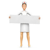 Nurse holds up a poster Stock Image