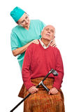 Nurse home care massage Royalty Free Stock Photo