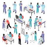 Nurse Hospital Isometric Set医生的 免版税库存图片