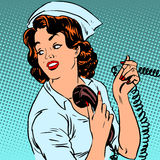 Nurse hospital phone health medical surgery style Royalty Free Stock Image