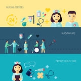 Nurse icon banner set Stock Photos