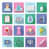Nurse Icon Flat Set. Nurse and first medical aid icon flat set isolated vector illustration Stock Photo