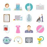 Nurse Icon Flat. Set with health care service symbols isolated vector illustration Royalty Free Stock Photos