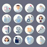Nurse icon set. Nurse health care medical first aid icons set isolated vector illustration Royalty Free Stock Images