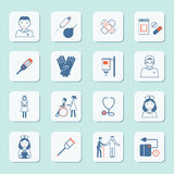 Nurse icon set. Nurse health care medical hospital service icons set isolated vector illustration Royalty Free Stock Images