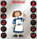 Nurse and icons. Nurse with a selection of medical icons Royalty Free Stock Photography