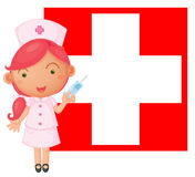 A nurse with an injection in front of the Switzerland flag Stock Photo